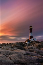 Preview iPhone wallpaper Norway, rocks, lighthouse, clouds, sunset