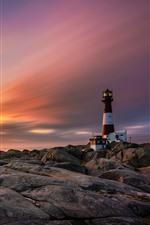 Noruega, pedras, farol, nuvens, pôr do sol