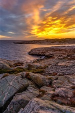 Norway, sunset, coast, sea