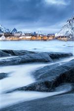 미리보기 iPhone 배경 화면 노르웨이, 마을, 산, 눈, 겨울