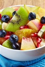 Preview iPhone wallpaper One bowl of fruit salad, kiwi, apple, blueberry