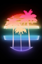 Preview iPhone wallpaper Palm trees, moon, neon style