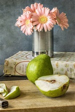 Preview iPhone wallpaper Pears, fruit, flowers, knife, still life
