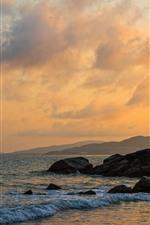 Preview iPhone wallpaper Perfume Bay, Hainan, China, sea, coast, rocks, clouds, sunset