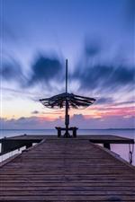 Preview iPhone wallpaper Pier, bridge, sea, sunset