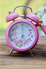 Preview iPhone wallpaper Pink alarm clock, white flowers