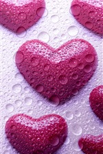 Preview iPhone wallpaper Pink love hearts, water droplets, design