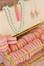 Preview iPhone wallpaper Pink macaroon, beads, decoration