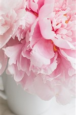 Preview iPhone wallpaper Pink peonies, cup