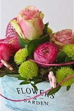 iPhone fondos de pantalla Rosas rosadas y flores verdes, ramo