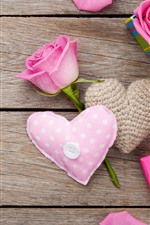 Pink roses, love heart, gifts