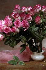 Preview iPhone wallpaper Pink roses, vase, silk