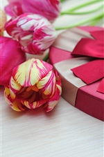 Preview iPhone wallpaper Pink tulips, love heart, gift