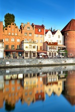 Preview iPhone wallpaper Poland, Old Town, Gdansk, river, city, houses