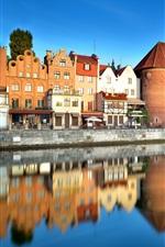 미리보기 iPhone 배경 화면 폴란드, 올드 타운, 그단스크, 강, 도시, 주택