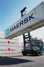Port, container, loader, plane