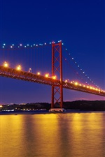 Preview iPhone wallpaper Portugal, Tagus river, 25th April Bridge, Lisbon, night, illumination