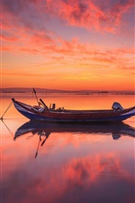 Portugal, sea, sunset, boat, red sky