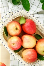 Preview iPhone wallpaper Red apples, fresh fruit, basket