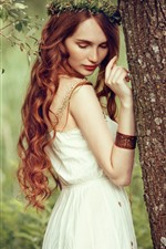 Preview iPhone wallpaper Red hair girl, curls, back view, tree