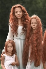 Preview iPhone wallpaper Red hair girls, sisters