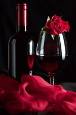 Preview iPhone wallpaper Red wine, rose, silk, romantic