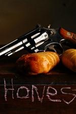 Revolver, weapon, bread