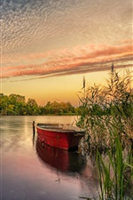 Preview iPhone wallpaper River, boat, reeds, clouds, sunset