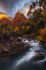 Preview iPhone wallpaper River, mountains, rocks, trees, autumn