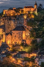 Preview iPhone wallpaper Rocamadour, France, city, night view, lights