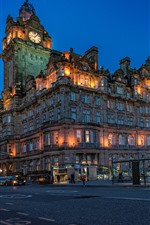 Preview iPhone wallpaper Scotland, Edinburgh, Balmoral Hotel, city, road, night