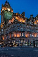 Escócia, edimburgo, balmoral, hotel, cidade, estrada, noturna