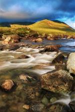 Preview iPhone wallpaper Scotland, Isle of Skye, rocks, stream, water, blue clouds