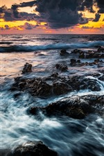 Preview iPhone wallpaper Sea, clouds, sunset, coast