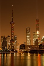 Preview iPhone wallpaper Shanghai, China, city night, skyscrapers, river, lights