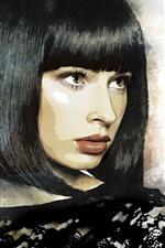 iPhone壁紙のプレビュー ショートヘア・ガール、ヘアスタイル、アート・ピクチャー