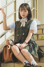 Preview iPhone wallpaper Short hair schoolgirl, ladder
