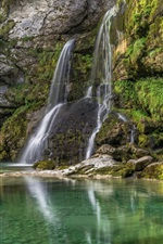 Slovenia, Bovec, waterfall, lake