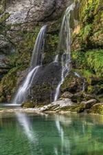iPhone fondos de pantalla Eslovenia, Bovec, cascada, lago
