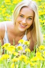 Preview iPhone wallpaper Smile blonde girl, yellow flowers, spring