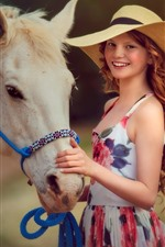 Preview iPhone wallpaper Smile girl, red hair, hat, horse