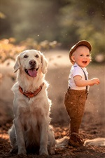 Preview iPhone wallpaper Smile little child and two dogs