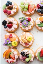 Preview iPhone wallpaper Some cakes, fruit decoration, cream