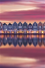 Preview iPhone wallpaper Some houses, river, water reflection, dusk, Netherlands