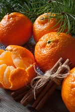 Preview iPhone wallpaper Some tangerines, cinnamon, pine twigs