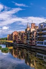 Preview iPhone wallpaper Spain, Catalonia, Girona, houses, river, bridge