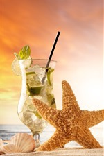 Preview iPhone wallpaper Starfish, mojito, drinks, sands