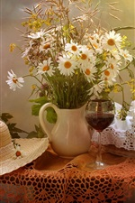 Still life, flowers, table, hat, bread