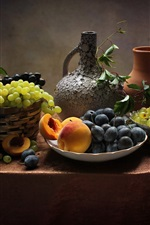 Preview iPhone wallpaper Still life, fruit, grapes, peach, plums