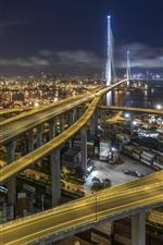 Stonecutters Bridge, Hong Kong, estradas, noite, cidade
